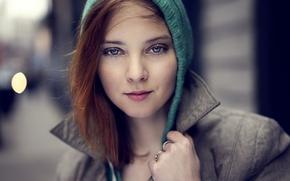 Picture eyes, look, girl, portrait, brunette, hood, coat