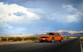 Picture road, the sky, clouds, hills, desert, lights, wheel, Dodge, Challenger