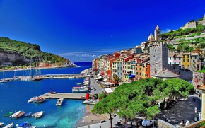 Picture sea, the sky, trees, people, tower, home, yachts, boats, Bay, promenade, Italy