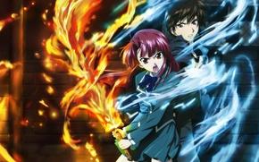 Picture fire, the air, pair, guy. girl, Kaze No Stigma, Kazuma Yagami, Ayano Kannagi