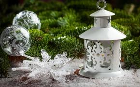 Wallpaper New Year, Branches, Lantern, Balls, Snowflakes, Holidays