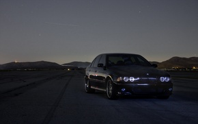 Wallpaper black, BMW, stars, the evening, Bmw