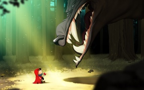 Wallpaper wolf, were, Little Red, Little Red Riding Hood
