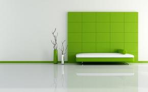 Wallpaper vases, squares, green, bed, minimalism