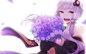 Picture girl, flowers, smile, bouquet, anime, petals, tears, art, microphone, vocaloid, Vocaloid, Yuzuki Up