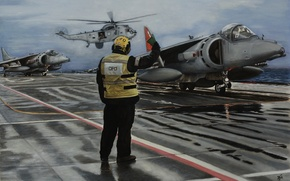 Picture deck, Harriers, stormtroopers, fighters, painting, AV-8B, Adjuster