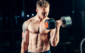 Picture man, muscles, tattoo, fitness, gym, barbell
