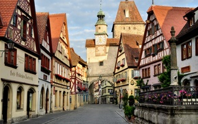 Picture watch, road, home, Germany, Rothenburg, arch, street, tower