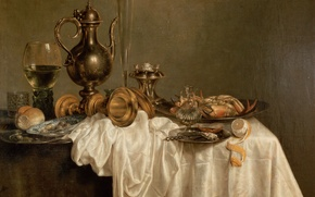 Picture lemon, Heda, Willem Claesz, Breakfast with a Lobster, lobster, white tablecloth