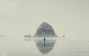 Picture wave, beach, fog, reflection, stone, mirror, male, rainy