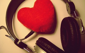 Wallpaper love, music, heart, music, headphones, love, recognition, feeling, 14 Feb, Valentine's day