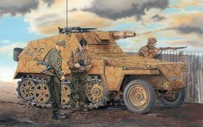 Picture Figure, German, Easy, 5 cm, Stub, Half-track, Armored car 7, KwK 37 L/24, APC, Kampfwagenkanone …