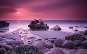 Wallpaper sea, stones, sunset