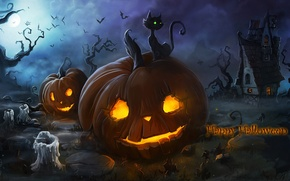 Picture cat, night, fog, fire, holiday, the moon, candles, pumpkin, house, bats, Halloween, burning, Wallpaper from …