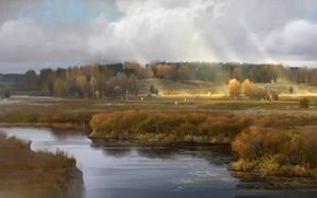Picture field, forest, landscape, river, art, river, Russia, Russia