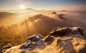 Wallpaper morning, light, mountains