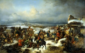 """Picture oil, picture, Alexander, KOTZEBUE, """"the capture of the fortress of colberg""""canvas"""