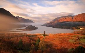 Wallpaper sea, autumn, mountains, lighthouse, Bay