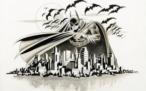 Wallpaper bat, the city, Batman, Arkham, figure