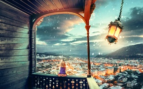 Picture snow, the city, the wind, art, girl, lantern, photoshop