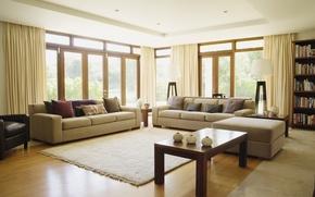 Picture design, table, room, carpet, furniture, Windows, interior, chairs, curtains, curtains, sofas, design, interior
