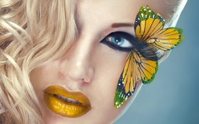 Picture eyes, look, girl, face, eyelashes, butterfly, model, hair, yellow, makeup, blonde, lips