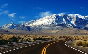 Picture mountains, nature, the steppe, Road