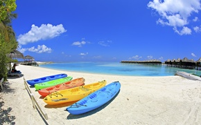 Picture sand, sea, beach, the sky, clouds, stay, Paradise, vacation, boats, The Maldives, Bungalow