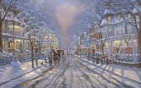 Wallpaper road, street, Christmas, snowman, tree, painting, Christmas, Robert Finale, winter, snow, street, painting, snowman, christmas ...