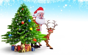 Picture snow, tree, new year, Christmas, gifts, christmas, new year, Santa Claus, deer, snow, christmas tree, ...