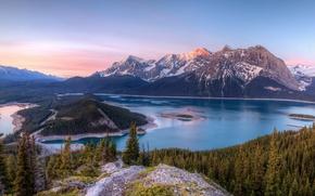 Picture trees, landscape, mountains, nature, lake, Canada, Kananaskis Lakes