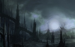 Wallpaper snow, night, Gothic, The darkness, art, spires