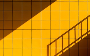 Picture the sky, wall, tile, shadow, tile, ladder, railings, square
