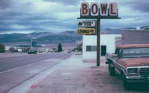 Picture car, USA, vintage, sky, retro, mountain, America, gas