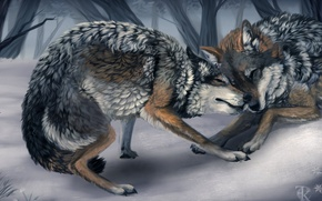 Picture winter, animals, trees, game, art, wolves, wild