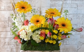 Picture flowers, wall, bouquet, basket