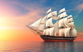 Picture sea, the sky, ship, sails, swimming