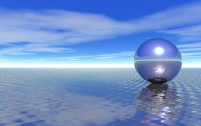 Picture sea, the sky, water, reflection, rendering, ball, UFO, sphere, metallic, hung, Wallpaper from lolita777