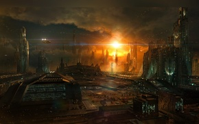Picture the sky, clouds, the city, future, fiction, planet, building, ships, twilight, CG wallpapers, sunrise Phoenix, …