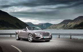 Picture sea, mountains, lake, shore, Bentley, Continental, Bentley, continental, Convertible, 2015
