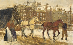 Picture the city, horse, picture, Georg Hendrik Breitner, Street Rokin in Amsterdam