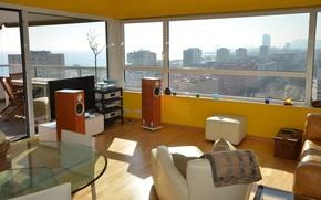 Picture design, style, room, Windows, interior, megapolis, living space