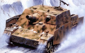 Picture war, art, tank, ww2, tank, german tank, tank, assault tank