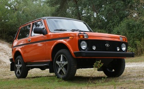 Wallpaper forest, orange, background, tuning, jeep, SUV, Lada, tuning, the front, Lada, 4x4, Niva, Niva, An
