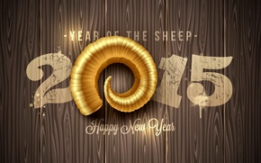 Wallpaper New Year, golden, New Year, sheep, Happy, 2015, the year of the sheep