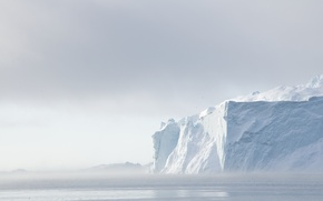 Picture The sky, Clouds, The ocean, Sea, Snow, Iceberg, Ice, North, Greenland