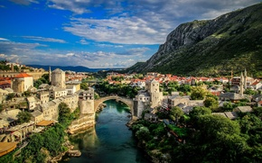 Picture landscape, mountains, panorama, Bosnia and Herzegovina, Bosnia and Herzegovina, Mostar, the Neretva river, Mostar, Old …