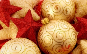 Wallpaper New Year, stars, sequins, gold, red, balls, decoration