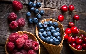 Wallpaper berries, raspberry, blueberries, strawberry, fresh, cherry, berries