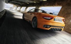 Picture Maserati, Yellow, Sport, Convertible, Ass, Maserati, Car, GranTurismo, Yellow, Sport, Convertible, Kar, Rear, Gran Turismo